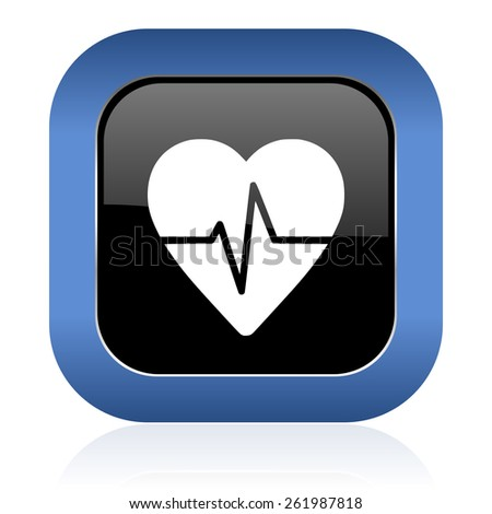 pulse square glossy icon heart rate sign  - stock photo