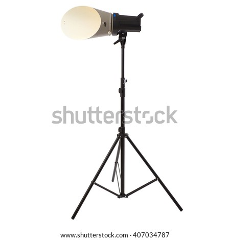 Pulse studio flash with background reflector on a stand over isolated white background