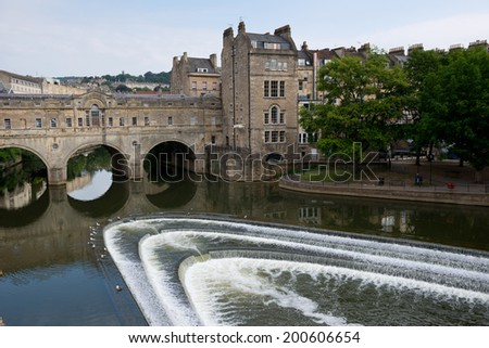 Pulteney Bridge over the River Avon in Bath, Somerset, England  - stock photo