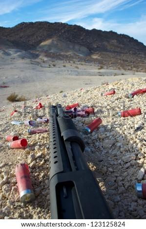 pump-action shotgun close up - stock photo