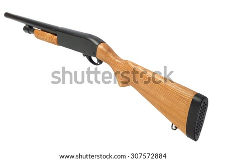 pump action shotgun with a wooden butt  isolated on white - stock photo