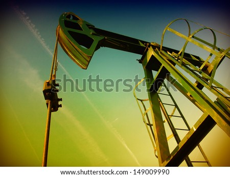 Pump jack - stock photo