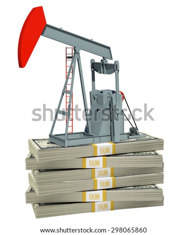 Pump jack on stack of money on isolated white background
