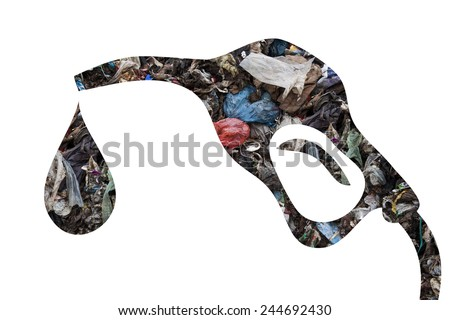 Pump nozzle with municipal waste as concept for alternative energy - stock photo