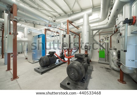 Pump room. Modern boiler room. Engine room.
