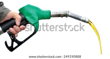 Pumping fuel on white background. - stock photo