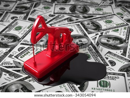 Pumpjack And Spilled Oil On The Money. 3D Scene. - stock photo