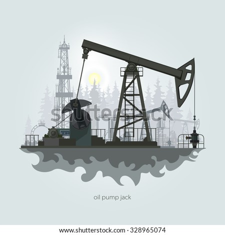 Pumpjack in the Background of Fir Trees and Working Oil Pumps and Drilling Rig,  Oil Pump, Petroleum Industry - stock photo