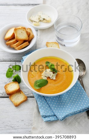 pumpkin and carrot soup with cream, food