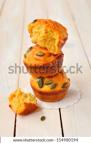 Pumpkin and Cheese Muffins, copy space for your text - stock photo