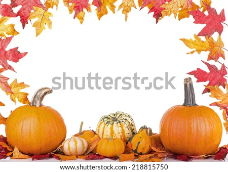 Pumpkin and squash with a fall leaf background on a white background - stock photo