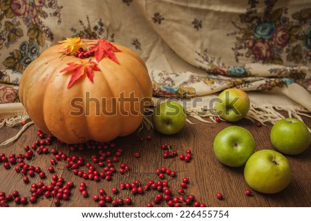 pumpkin autumn apple berry hawthorn green scarf cellar foliage scarf