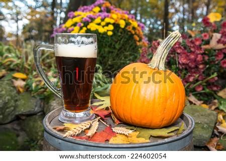 Pumpkin Beer - stock photo