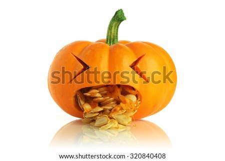 Pumpkin being sick - stock photo