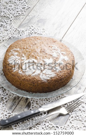 "Pumpkin cake decorated with pattern. From the series ""Pumpkin cake"" - stock photo"