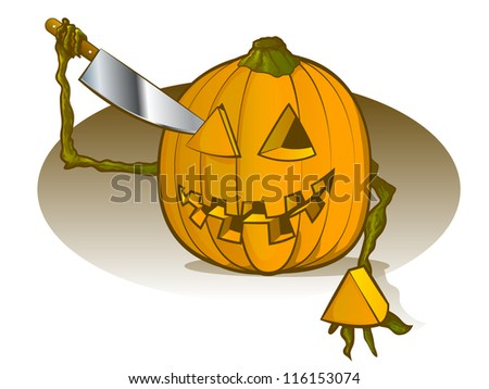 Pumpkin Carving Himself - stock photo