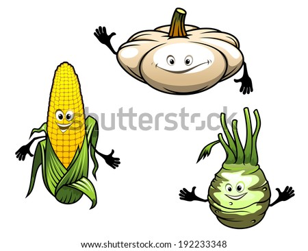 Pumpkin, corn and turnip cartoon vegetables logo isolated on white background. Vector version also available in gallery - stock photo