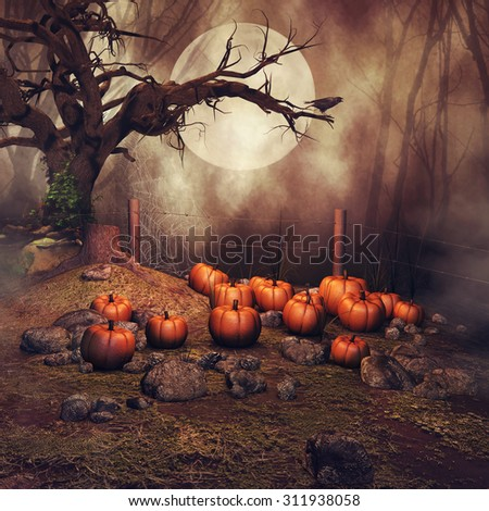 Pumpkin field with an old tree and a raven at a foggy forest at night - stock photo