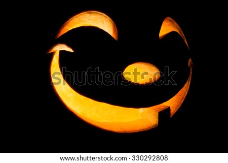 Pumpkin for Halloween isolated on black background - stock photo