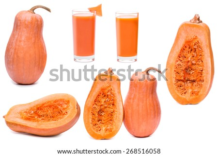 pumpkin fresh vegetable and half sliced squash isolated on a white background - stock photo