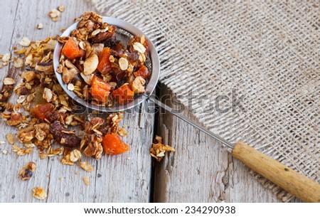 Pumpkin granola, selective focus - stock photo