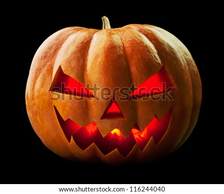 pumpkin halloween Jack O'Lantern on black - stock photo