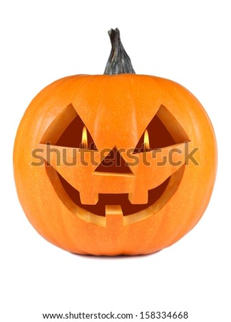 Pumpkin, halloween, old jack-o-lantern on white background with fiery flames in the eyes