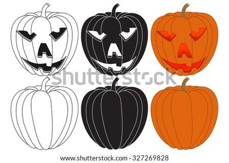 Pumpkin. Halloween set. Raster version. Illustration isolated on white. - stock photo