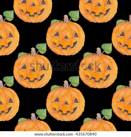 Pumpkin Halloween watercolor Illustration  Seamless Pattern Orange Holidays  - stock photo