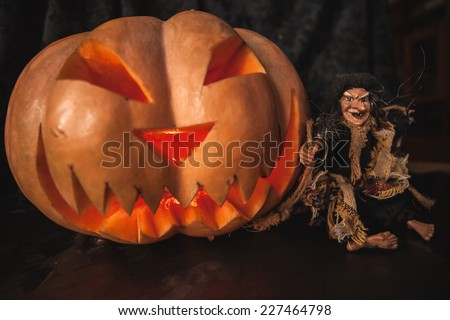 pumpkin Halloween witch hat holiday smile joke teeth cut eyes mouth nose hole