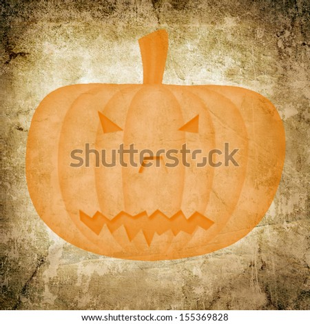 Pumpkin icon on old paper background and pattern - stock photo