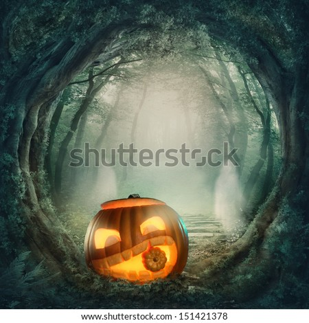 Pumpkin in dark halloween forest - stock photo