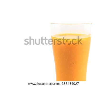 pumpkin juice on white background