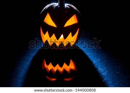 Pumpkin lit for halloween celebration - stock photo
