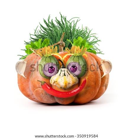 pumpkin man - stock photo