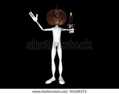 pumpkin man with a scary candle