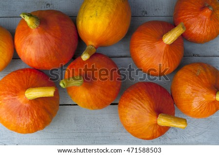 Pumpkin on a gray wooden background