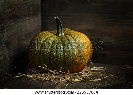 Pumpkin  on old wooden table - stock photo