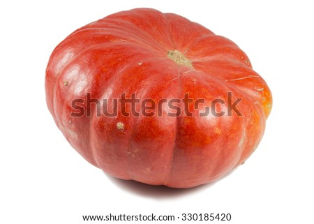 pumpkin on white background photographed in studio - stock photo