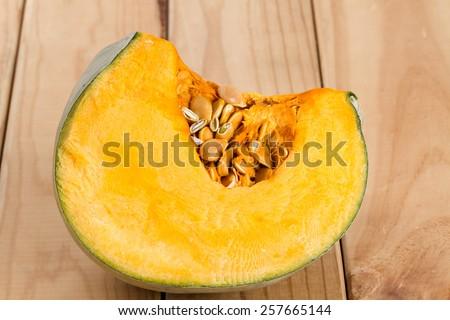 pumpkin on wooden background  - stock photo