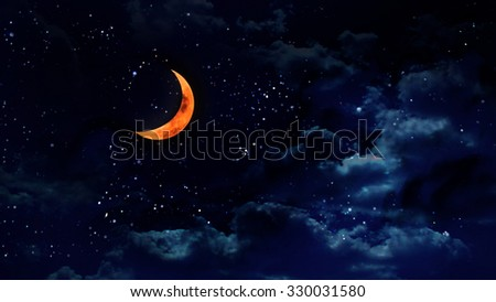 pumpkin orange color of the halloween moon - stock photo