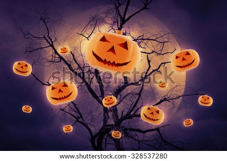 Pumpkin over dead tree against full moon, Halloween background. Visible noise at 100%. - stock photo