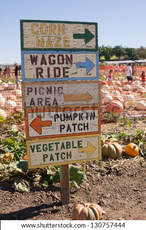 Pumpkin  patch and sign - stock photo
