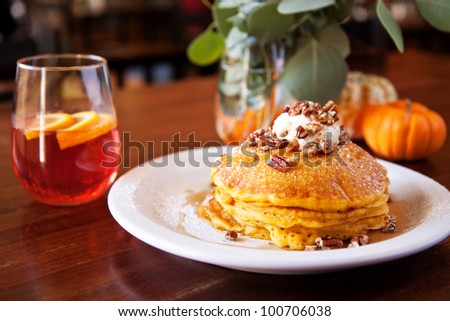Pumpkin Pecan Pancakes and Cranberry Mimosa