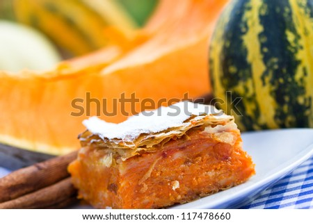 Pumpkin pie - pumpkin cake - stock photo