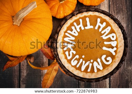 Pumpkin Pie With Happy Thanksgiving Text Displayed Pumpkins Golden Autumn Leaves And