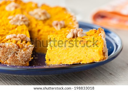 pumpkin pie with nuts - stock photo