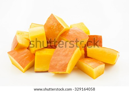 Pumpkin pieces isolated on white background - stock photo