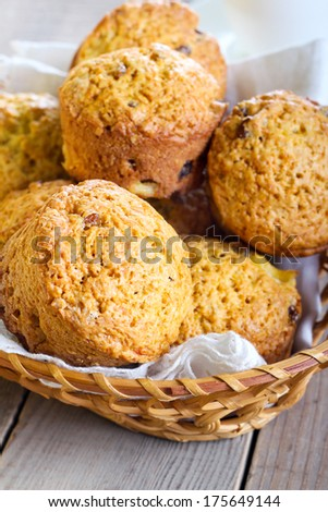 Pumpkin, pineapple and raisin muffins in basket