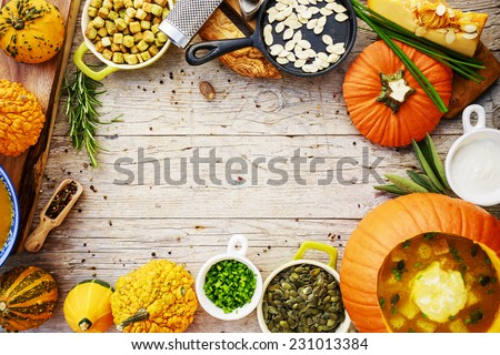 Pumpkin, Pumpkin soup, healthy food - space for text - stock photo